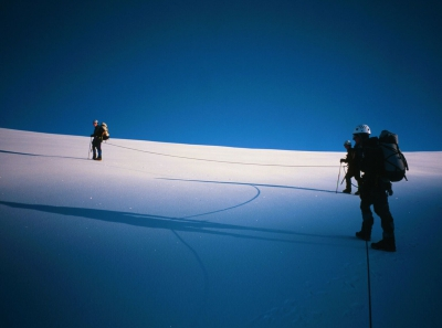 climbers on glacier in greenland