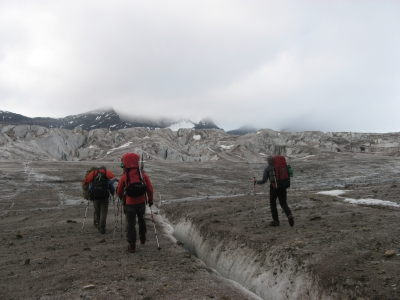 climbers on glacier greenland