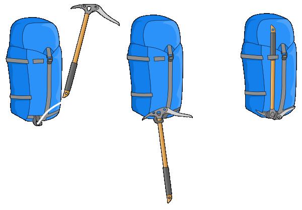 attach ice axe to bag