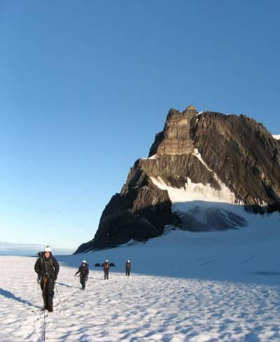 climbers crossing glacier