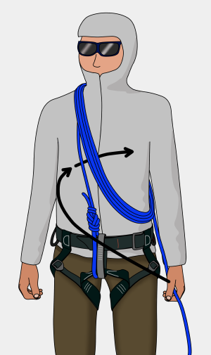 how to tie chest coils for glacier travel