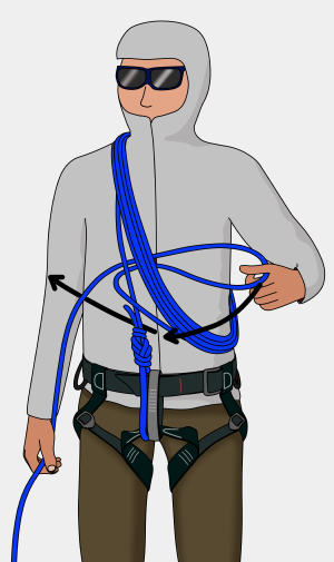 how to tie chest coils to climb on a glacier