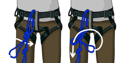 how to tie into middle of climbing rope