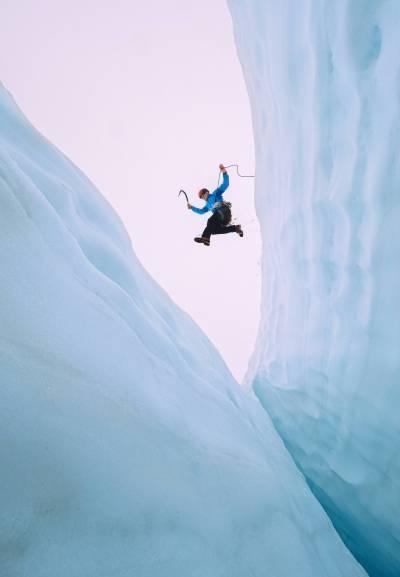 jumping over crevasse