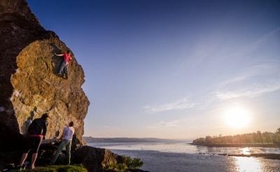 Rock climbing bouldering