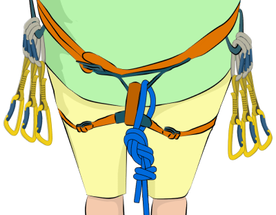Quickdraws on climbing harness quick draws