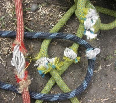 Damaged cut climbing ropes
