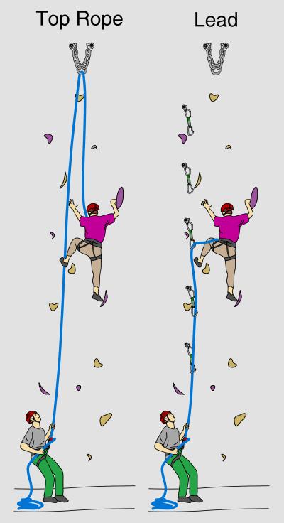 Climbers at an indoor climbing wall