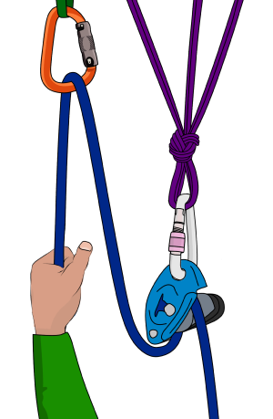 Belaying in guide mode with a grigri
