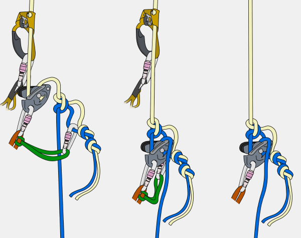 how to rappel past a knot