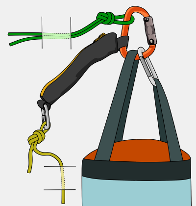 how to attach a haulbag to the rope