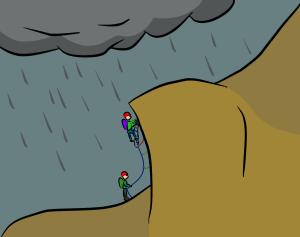 Alpine aid climbers climbing in rain