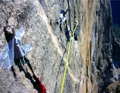 Aid climbing skyhooks duck tape el cap
