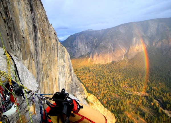 El Cap sunset rainbow big wall climbing