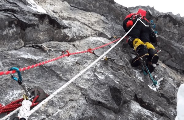 Eiger north face aid climbing
