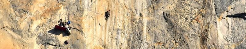 Big wall aid climbing yosemite