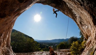 Leading a sport climb in spain