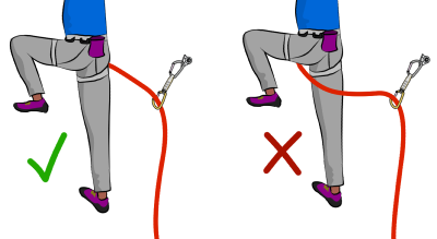 Climbing rope around leg