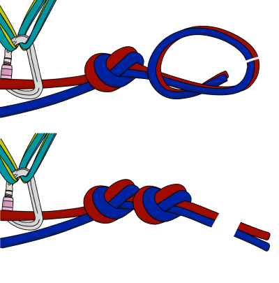 How to tie climbing ropes together for abseiling