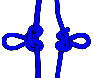 Alpine butterfly knot front and back