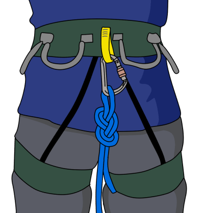 tie haul rope to climbing harness