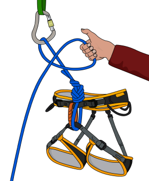 one handed clovehitch climbing