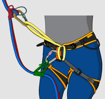 Extending your belay device using a prusik to abseil rappel