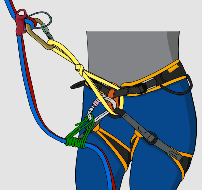 Extending your belay device with a sling for rappel
