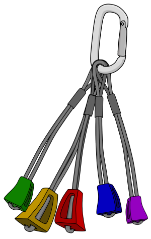 Climbing nuts grouped in size order attached to a sling rack