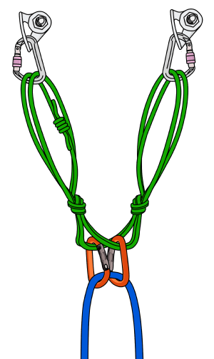 Self-equalizing anchor rock climbing top rope