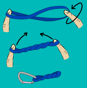 Twist climbing sling and rack onto harness