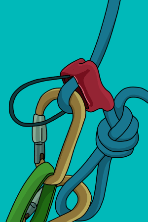 Overhand knot tied to tie-off a belay device